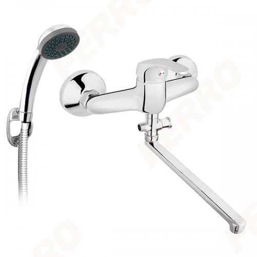 Смеситель Basic для ванны настенный с изливом 350мм и душевым комплектом FERRO BBC55A, Польша