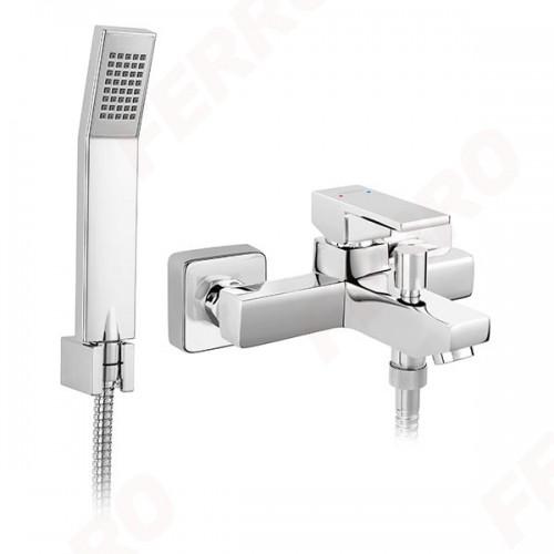Смеситель Zicco для ванны настенный с коротким изливом и душевым комплектом FERRO BZI11, Польша