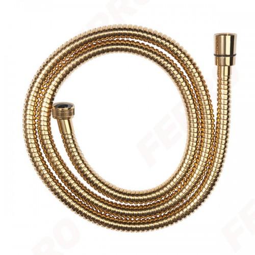 Душевой шланг 150 см металлическая оплётка, золото, FERRO W35, Польша
